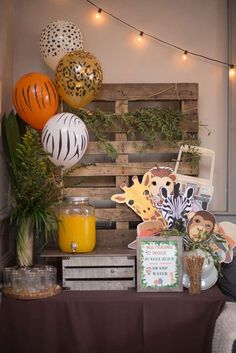 Nicole H's Birthday / Jungle/Safari - Lucas's Jungle/Safari Birthday Party at Catch My Party Safari Theme Birthday, Boys 1st Birthday Party Ideas, Jungle Theme Parties, Wild One Birthday Party, Safari Birthday Party, 1st Boy Birthday, Jungle Party, Idee Baby Shower, Deco Jungle