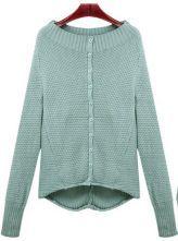 Green Boat Neck Batwing Long Sleeve Cardigan Sweater $40