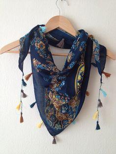 Blue flowered shawl Triangle fabric by SpecialFabrics on Etsy, $12.99