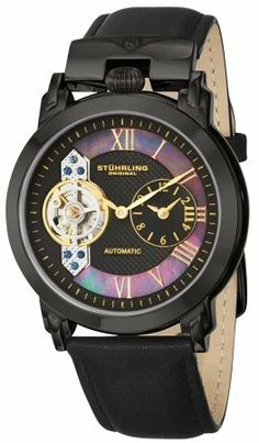 cd553bddf Stuhrling Men's 291.33551 Emperor Black Stainless Steel Watch: Watches:  Amazon.com Black Stainless