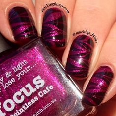 pOlish 'Focus' water marble mani art by Mucking Fusser! Buy on-line now: . Beautiful Nail Art, Gorgeous Nails, Love Nails, Pink Nails, Pretty Nails, My Nails, Crazy Nail Designs, Nail Art Designs, Simple Designs