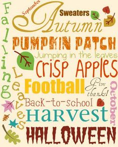 FREE printable Autumn subway art Fall wall art: The Nelsons