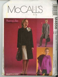 McCalls M4656 Unlined Jacket 2 Lengths, Top, Bias Skirt, Pants & Flower Size 10- - Sewing Patterns