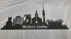 Skyline Dortmund aus Stahl Laserzuschnitt Mit Text Wahre Liebe