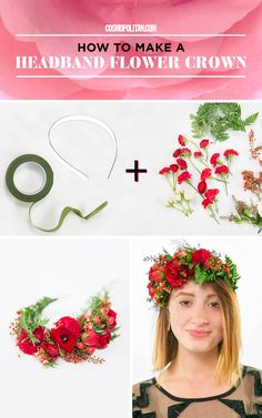 HEADBAND FLOWER CROWN: This type of flower crown is the easiest to make because you don't need to measure or clip any wire, just use a headband and green flower tape to create this look. Click through for the full instructions from flower crown designer Christy Doramus of Crowns by Christy. You'll also find 4 more easy flower crown tutorials and holiday beauty ideas!