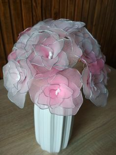 New DIY project for the lovers of handmade products. Flowers from nylon stockings. Handmade Products, Nylon Stockings, Pink Roses, Wedding Bouquets, Diy Projects, Lovers, Wedding Brooch Bouquets, Bridal Bouquets, Wedding Bouquet