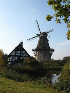 The mill of Sanssouci Park, Potsdam; rebuilt in the International Mill Museum, Gifhorn, Germany Fantasy Town, Dresden, Old Windmills, Neuschwanstein, European Tour, Water Tower, Covered Bridges, Berlin Germany, Art And Architecture
