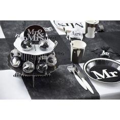 Présentoir Mr & Mrs 12 boules à dragées de 5 cm blanc noir