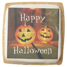 Orange Halloween Jack-O-Lanterns Square Shortbread Cookie - paper gifts presents gift idea customize