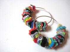 recycled t-shirt scrap earrings