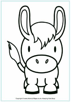 Donkey+Face+Mask+Template | View and print Donkey colouring page (pdf)