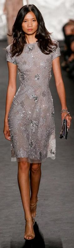 Naeem Khan RTW Spring 2015. Beautiful, very dainty short sleeve gray dress with flower appliqués.
