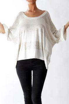 Like this BCBG Generation sweater? Shop this without using money! Trade. Shop. Discover. #fashionexchange #prelovedfashion  Cream Wide Stripe Off the Shoulder Sweater