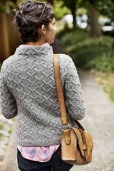 From Wool People. I wonder if I could pull this off with a thicker yarn.
