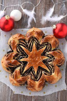 Drożdżowa gwiazda z makiem Bread Recipes, Camembert Cheese, Muffin, Breakfast, Marzipan, Food, Challah, Cooking, Poppy Seed Recipes
