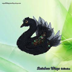 Black Swan brooch Black bird brooch Textile by RoyalKittyJewelry Black Swan, Fantasy World, Brooches, Charms, Handmade Jewelry, Textiles, Bird, Patterns, Halloween