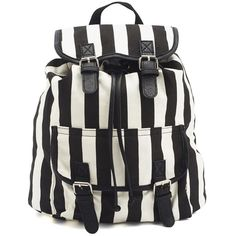 Striped Canvas Backpack ($27) ❤ liked on Polyvore featuring bags, backpacks, accessories, stripe bag, charlotte russe bags, knapsack bag, canvas backpack and rucksack bags
