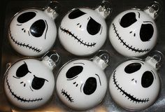 Cute if your a nightmare before christmas fan like I am. Have to make for my christmas tree!  DIY jack Skellington ornaments.   Buy white, or spray paint white.  Then black sharpie and a spray top coat! Bam!  Easy, simple, awesome.