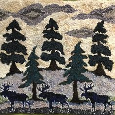Wooded landscape by Deanne Fitzpatrick. Moose, trees and light sky.