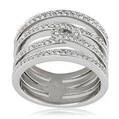Swarovski Creativity SilverTone Ring  Size 8 ** Visit the image link more details.