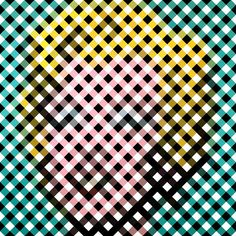 Warhol Remixed by Graphic Nothing (Gary Andrew Clarke): Andy Warhol's 'Marilyn Monroe' painting reduced & remixed down into plaid.  #Marilyn_Monroe #Graphic_Nothing #Gary_Andrew_Clarke #Illustration