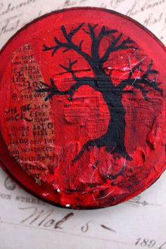 Mixed media round painting of a tree - mini tree painting - bright red painting - red and black artwork