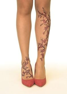 Picture of Cherry Blossoms Tights/Pantyhose - Stop and Stare