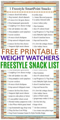 This free printable 1 Freestyle SmartPoint Snack Ideas for Weight Watchers list is a great tool to help your snacking stay on track. #WeightWatchers snack ideas for important! #WW #WWfreestyle #snackideas