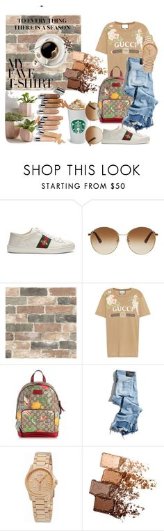 """""""Gucci Gang"""" by iris234 on Polyvore featuring Gucci, Wall Pops!, R13, Olsen, Maybelline and MyFaveTshirt"""