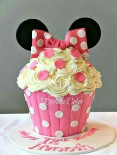 Giant Cupcake Cake For Birthday . Giant Cupcake Cake For Birthday Minnie Mouse Themed Birthday Party Pink Black And White Giant Minnie Mouse Cupcake Cake, Minni Mouse Cake, Bolo Da Minnie Mouse, Big Cupcake, Giant Cupcake Cakes, Minnie Mouse 1st Birthday, Minnie Mouse Theme, 1st Birthday Parties, Mickey Mouse
