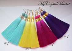 Tassel earrings are made of thread. Earrings are delivered in individual gift box. Diy Tassel Earrings, Silk Thread Earrings, Tassel Earing, Thread Jewellery, Tassel Jewelry, Fabric Jewelry, Bead Earrings, Diy Jewelry, Beaded Jewelry