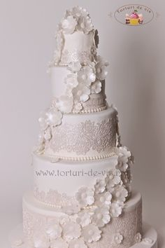Cake Svadba Lace a kvety Biela