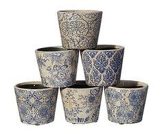 Set de 6 maceteros de cerámica - azul y blanco