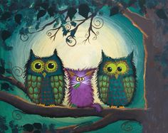 """This is one of my recent paintings (2015) called """"Nervous Owls"""".  Cindy Schmidt Cranky Cat Collection"""