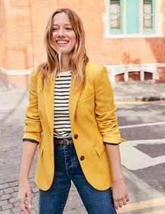 Smyth Tweed Blazer - Yellow Herringbone