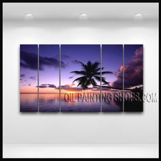 Amazing Contemporary Wall Art Hand-Painted Art Paintings For Living Room Hawaii Beach. This 5 panels canvas wall art is hand painted by E.Cheung, instock - $185. To see more, visit OilPaintingShops.com