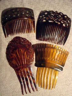 1920s 1930s Hair combs - some lucite and some tortoiseshell.