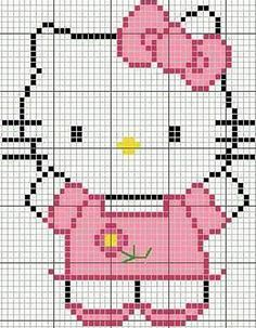 hello kitty cross stitch (this picture is the pattern) Cross Stitch Disney, Cross Stitch For Kids, Cross Stitch Baby, Cross Stitch Designs, Cross Stitch Patterns, Cross Stitching, Cross Stitch Embroidery, Hello Kitty Crochet, Modele Pixel Art