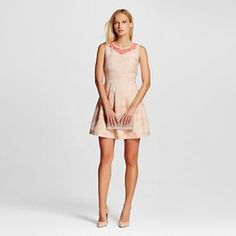 Women's Jacquard Fit and Flare Dress with Embellished Neckline - Allen B