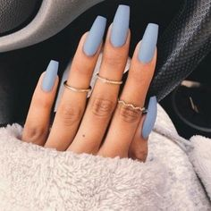 """If you're unfamiliar with nail trends and you hear the words """"coffin nails,"""" what comes to mind? It's not nails with coffins drawn on them. It's long nails with a square tip, and the look has. Blue Acrylic Nails, Summer Acrylic Nails, Acrylic Nail Designs, Matte Green Nails, Pastel Blue Nails, Colourful Nails, Matte Nail Art, Matte Gold, Matte Black"""