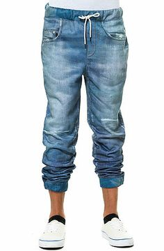 The Printed Jean Joggers in Blue by Elwood