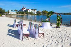 Disney Fairy Tale Wedding ceremony on Luau Beach at Disney's Polynesian Resort