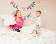 pillow fight, mother daughter lifestyle photography by Vintage Photo, Superior, NE