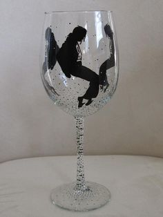 Hand Painted Wine Glass MICHEAL JACKSON by LoveGoodThings on Etsy, $25.00