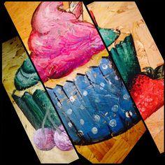 Triple decker cupcake art Apple Art, Cupcake Art, Toffee, Tie Dye, Painting, Sticky Toffee, Candy, Painting Art, Tye Dye