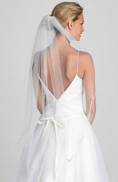 Wedding Belles New York 'Chanson' Embroidered Veil available at #Nordstrom. I like this veil, it's the right length and has a little bit of detail.
