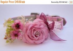 Pink floral dog collar dog wedding accessory dog by LADogStore