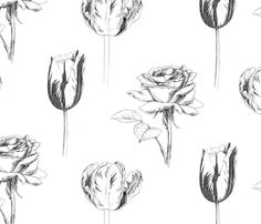 Sketchy Botanical fabric by pattysloniger on Spoonflower - custom fabric Gorgeous Fabrics, Floral Illustrations, Fabric Wallpaper, Summer Colors, Custom Fabric, Spoonflower, House Design, Black And White, Prints