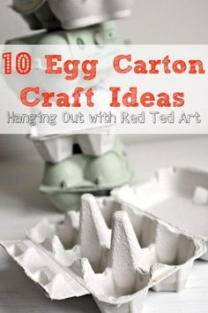 What to make from Egg Cartons - Red Ted Art and friends hangout and share some of their favourite egg carton crafts Easter Crafts, Fun Crafts, Stick Crafts, Card Crafts, Diy For Kids, Crafts For Kids, Pasta Casera, Egg Carton Crafts, Crafty Kids