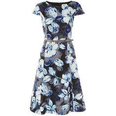 Kaliko Shadow Leaf Ottomon Dress, Multi/Blue